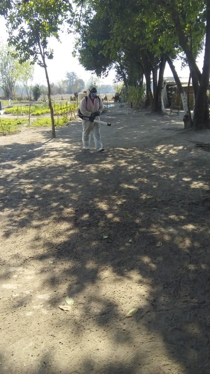 TAREAS DE DESINFECCION EN EL AREA DEL CERCADO LUEGO DE CONOCERSE UN NUEVO CASO DE COVID-19